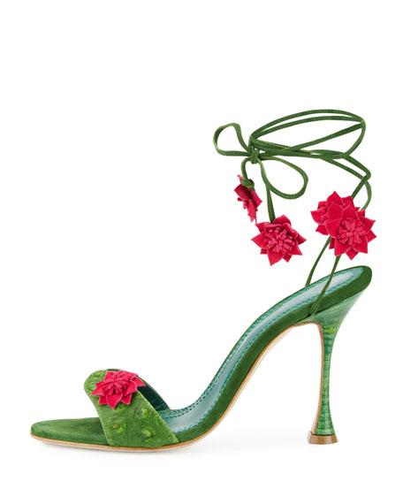 Xacaxtus Ankle-Wrap 100mm Sandals, Green/Fuchsia