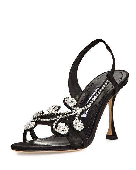 Manolo Blahnik Fernusan Embellished Satin Sandal, Black