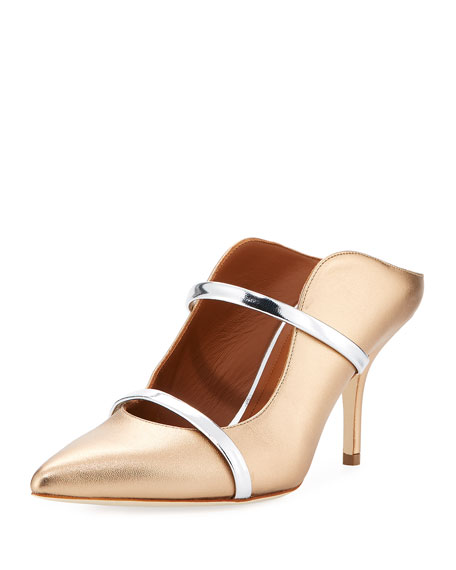 Malone Souliers Mules MAUREEN LEATHER TWO-STRAP MULE PUMP, GOLD