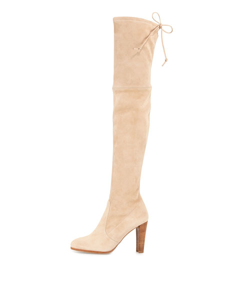 Highland Suede Over-the-Knee Boot, Buff