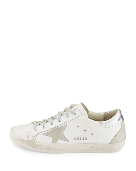 Distressed Leather Low-Top Sneakers, White/Silver