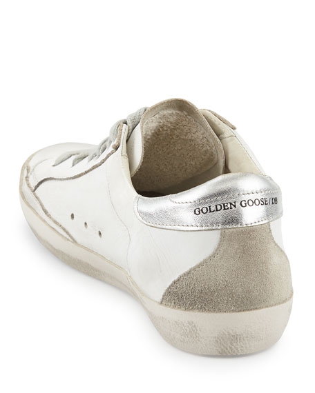 Distressed Leather Low-Top Sneaker, White/Silver