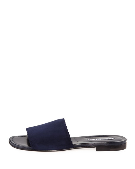 Arcara Suede Scalloped Slide Flat Sandal, Navy