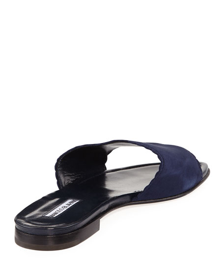 Arcara Suede Scalloped Slide Flat Sandals, Navy