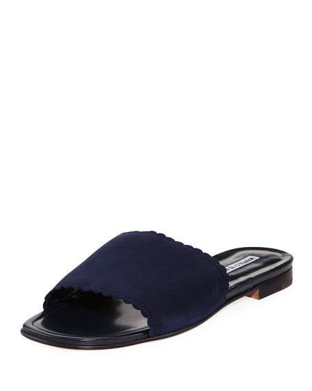 Manolo Blahnik Arcara Suede Scalloped Slide Flat Sandal,