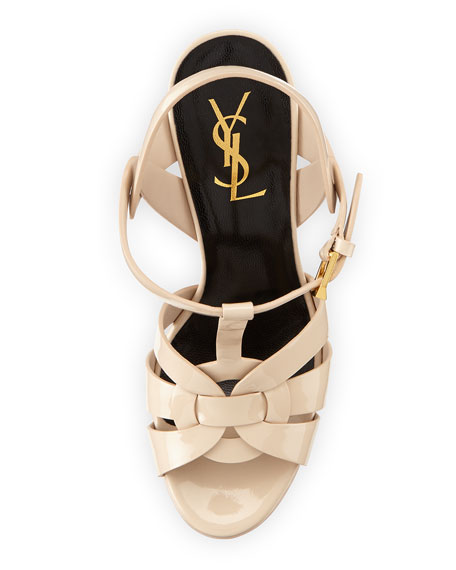 Tribute Patent 135mm Platform Sandal, Nude