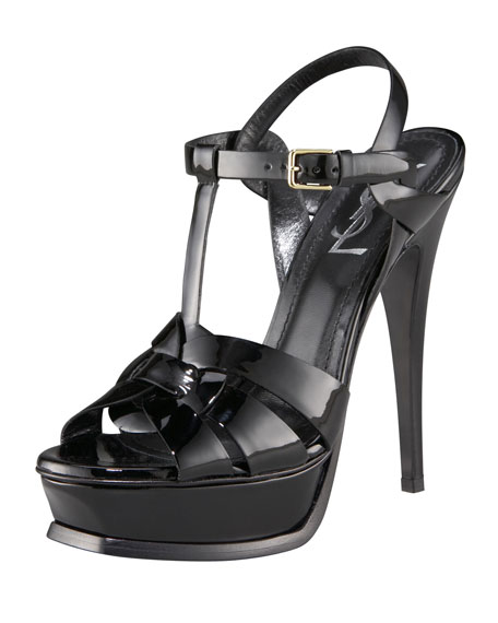Tribute Patent 135mm Platform Sandal, Black