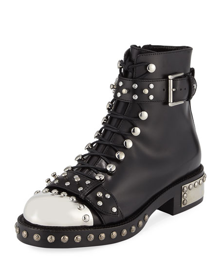 Studded Lace-Up Cap-Toe Boot, Black