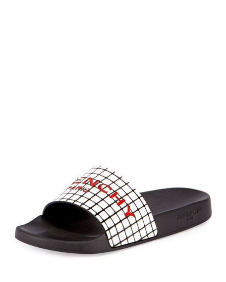 Givenchy Printed Rubber Logo Sandal Slide, Black