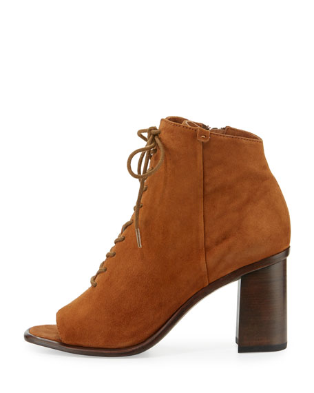 Amy Open-Toe Lace-Up Bootie, Brown