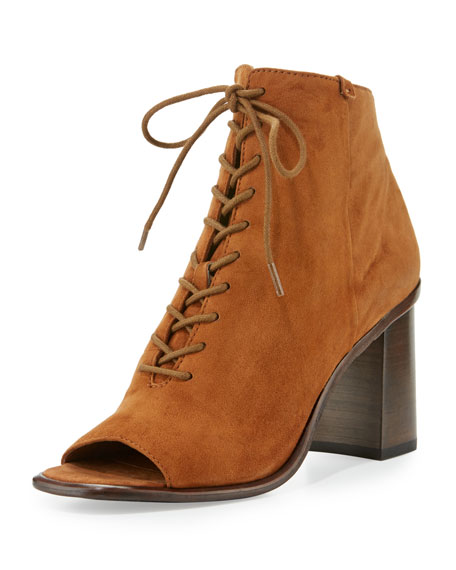 Frye Amy Open-Toe Lace-Up Bootie, Brown