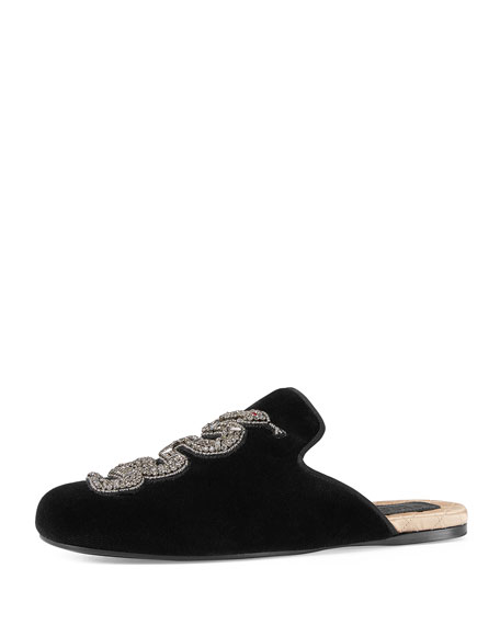 Gucci Lawrence Crystal Snake Mule, Black
