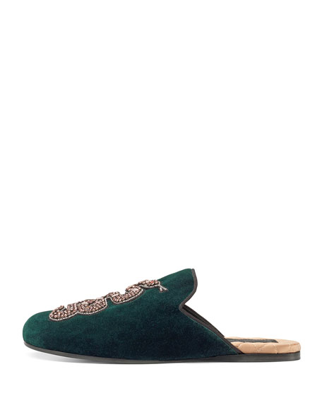 Lawrence Crystal Snake Mule, Emerald