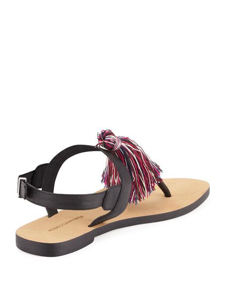 Erica Tassel T-Strap Sandal, Black