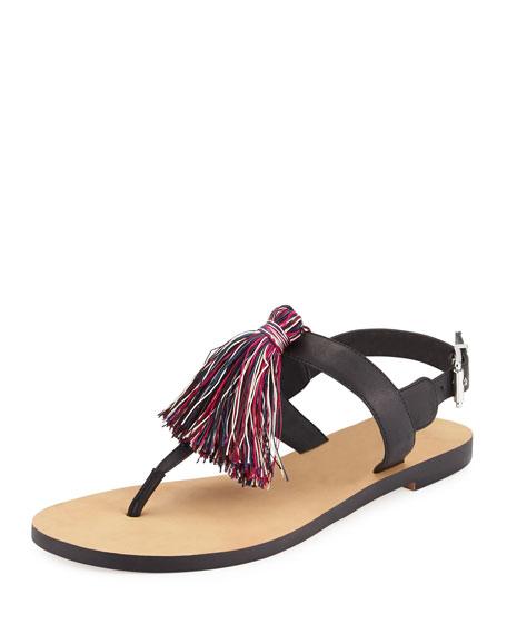 Rebecca Minkoff Erica Tassel T-Strap Sandal, Black