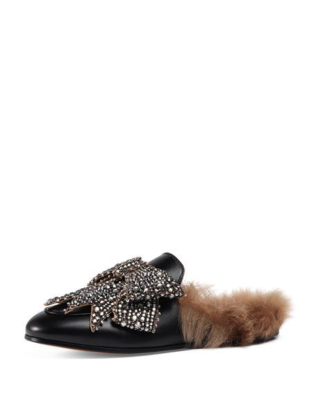Gucci Princetown Bow Fur-Lined Mule, Black