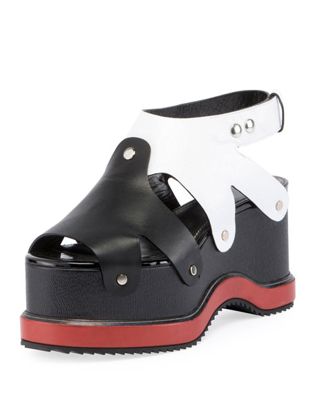 Proenza Schouler Colorblock Leather Platform Sandal, Nero