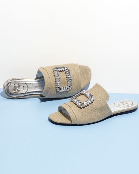 Strass-Buckle Canvas Slide Sandal, Neutral