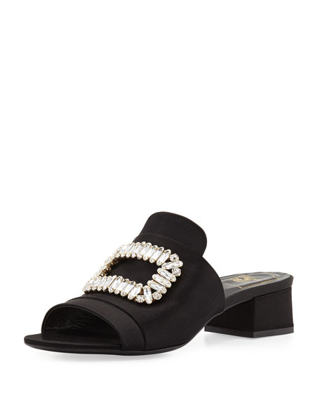 Roger Vivier Satin Buckle Mule Slide, Black