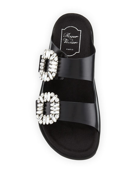 Strass-Buckle Two-Band Slide Sandals, Black