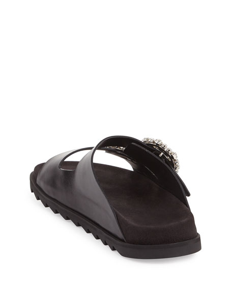 Strass-Buckle Two-Band Slide Sandal, Black