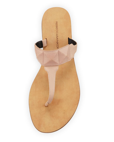 Eloise Studded Leather Thong Sandal, Beige