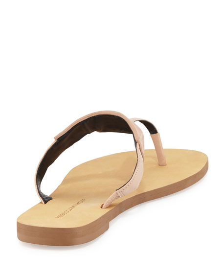 Eloise Studded Leather Thong Sandal, Beige
