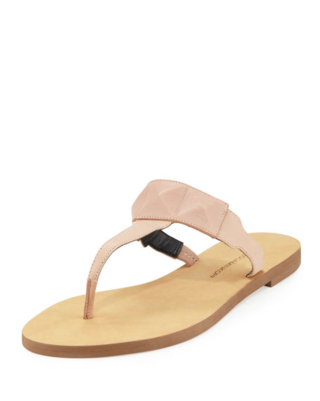 Rebecca Minkoff Eloise Studded Leather Thong Sandal, Beige