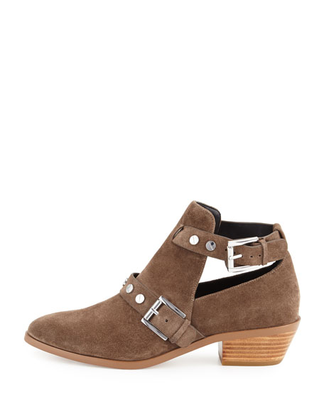 Abigail Suede Buckle Booties, Olive