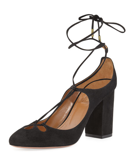 Dancer Suede Lace-Up 85mm Pump, Black