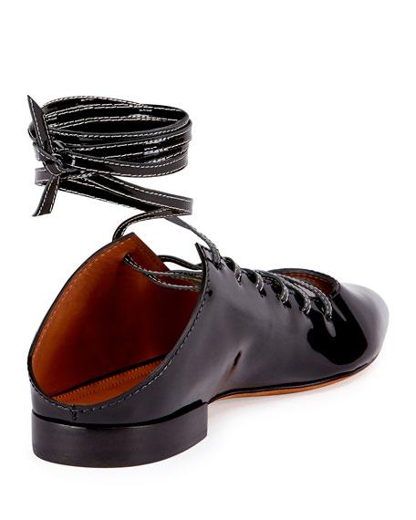 Patent Lace-Up Ballerina Flat, Black
