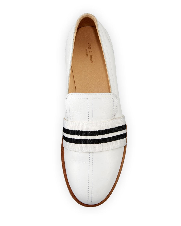 d585c2b6e8 Rag & Bone Amber Striped-Web Leather Loafer, White | Neiman Marcus