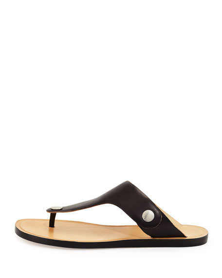 Luna Flat Leather Thong Sandal, Black