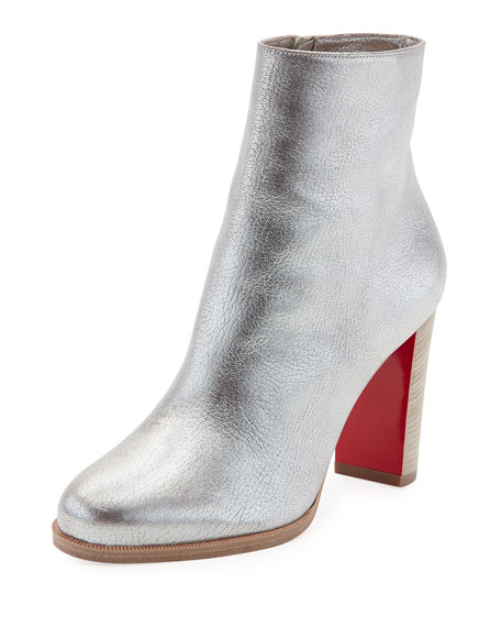 Christian Louboutin Adox Metallic Stack-Heel Red Sole Bootie,
