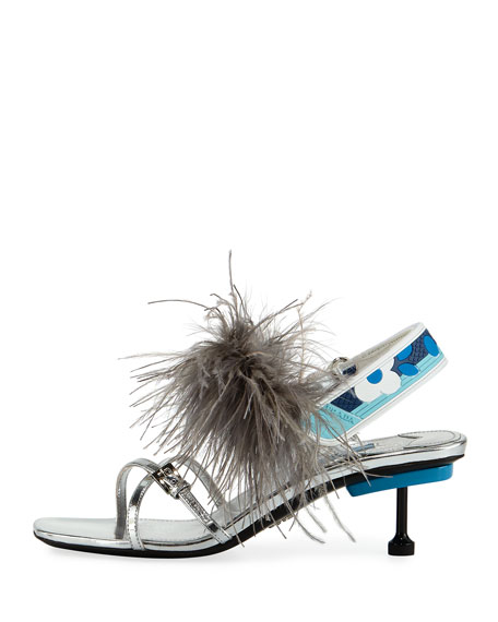 Strappy Feather Slingback Sandal, Silver