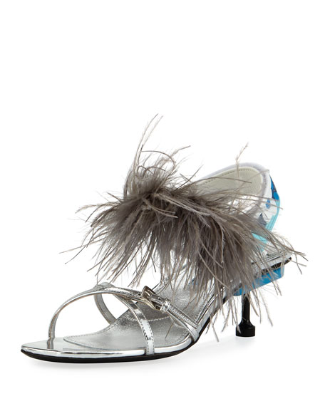 Prada Strappy Feather Slingback Sandals, Silver