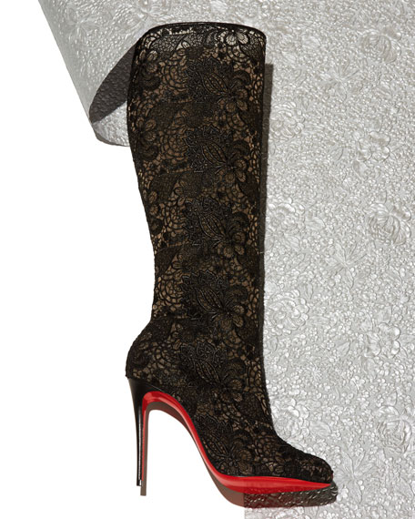 Image 2 of 5: Tennissima Net Lace Red Sole Boot, Black