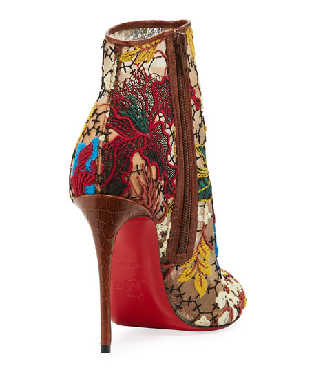 Christian Louboutin Miss Tennis Embroidered Lace Red Sole Booties