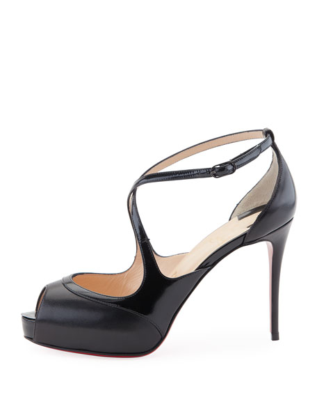 Mira Bella Leather Red Sole Sandal, Black