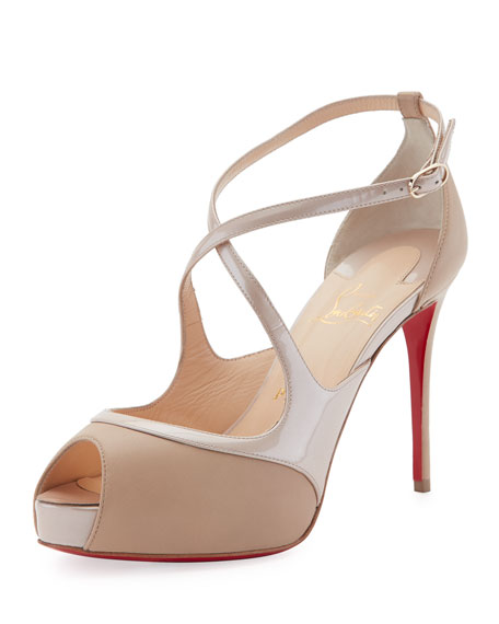 Christian Louboutin Mira Bella Crisscross Platform Red Sole