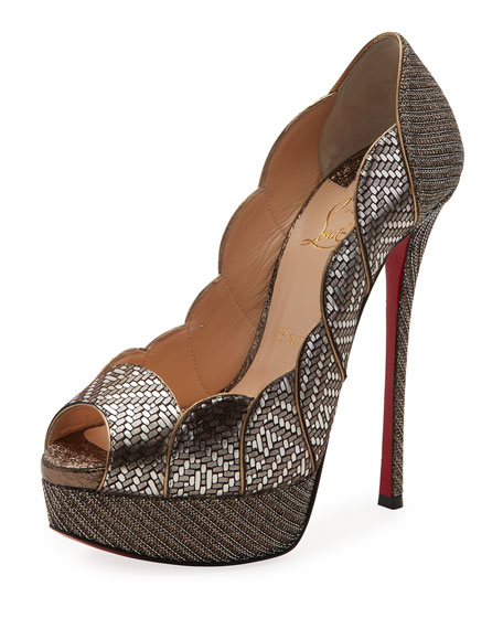 Christian Louboutin Torsatoe Scallop Platform Red Sole Pump,