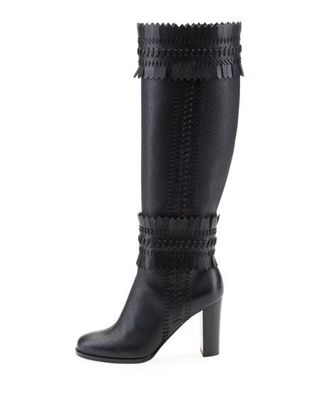 Pocabotta Red Sole Fringe Knee Boot, Black