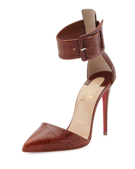 Harler Snake-Embossed Leather Red Sole Pump, Brown
