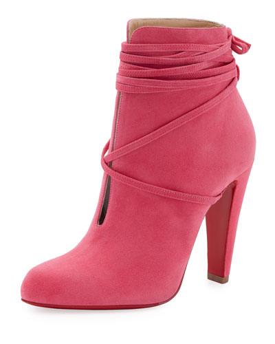 S.I.T. Rain Ankle-Wrap Red Sole Bootie, Pink