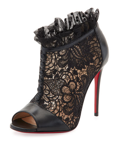 Henrietta Lace Peep-Toe Red Sole Bootie, Black