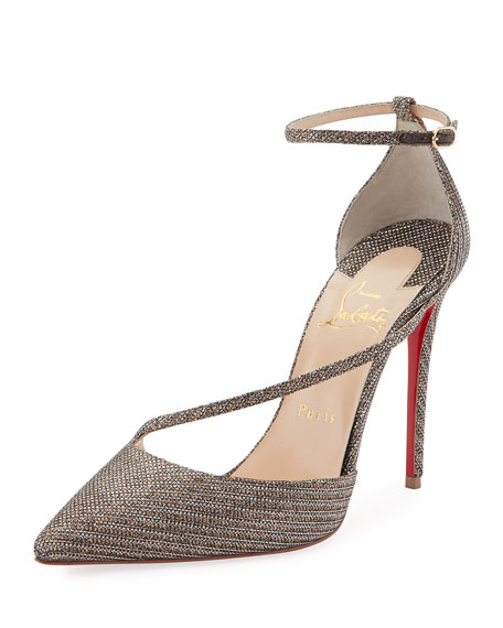 Christian Louboutin Fliketta Glitter Chain Red Sole Pump,