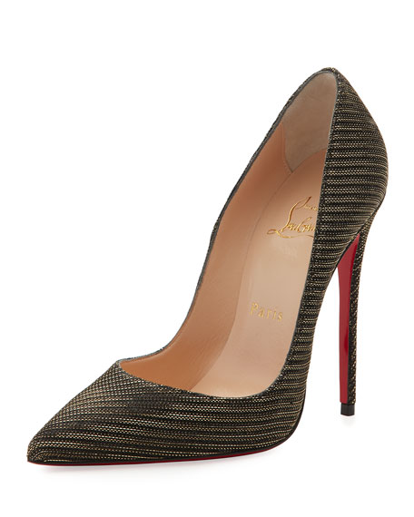 So Kate Glitter Chain 120mm Red Sole Pumps, Black