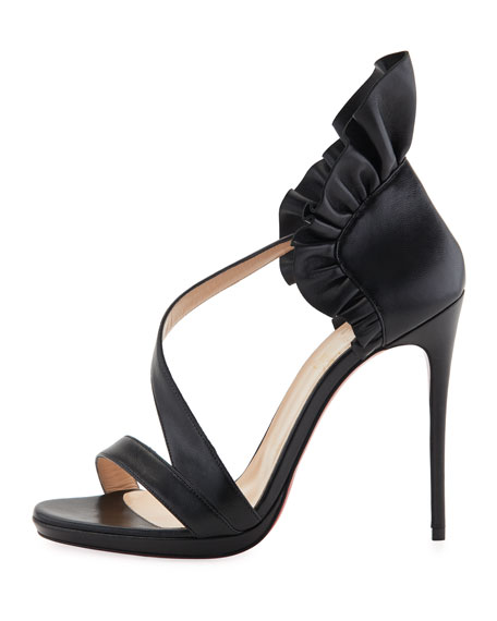 Image 2 of 2: Col Ankle Ruffle Red Sole Sandal, Black