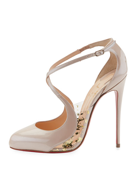 Crossettinetta Patent Red Sole Pump, Nude