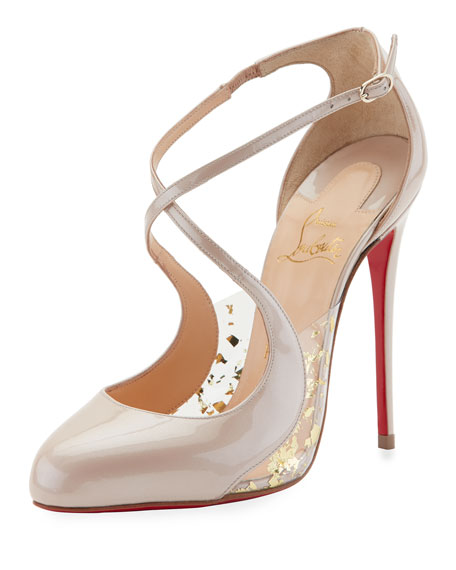 Christian Louboutin Crossettinetta Patent Red Sole Pump, Nude